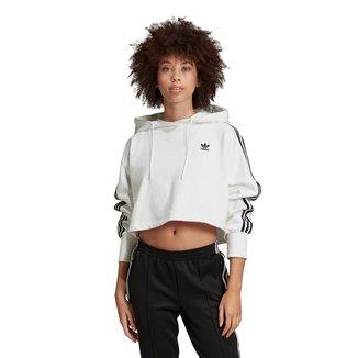 Blusa Cropped Adidas Trefoil c/ Capuz
