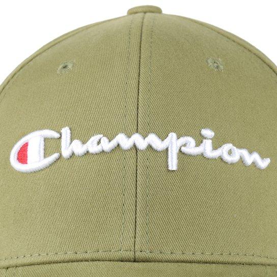 Boné Champion Aba Curva Strapback Classic Twill Hat Script - Verde Militar