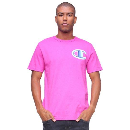 Camiseta Champion Logo Patch Heritage - Pink