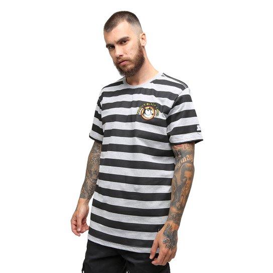 Camiseta Starter Black Label Gato Felix Stripes - Cinza