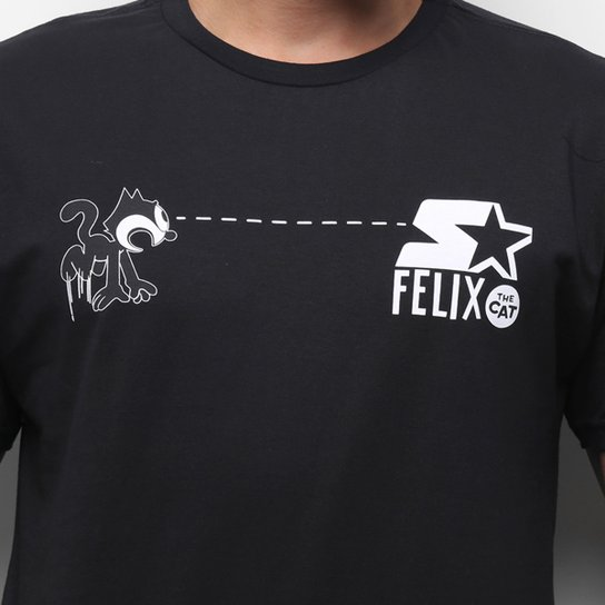 Camiseta Starter Gato Felix Hypnotic - Preto