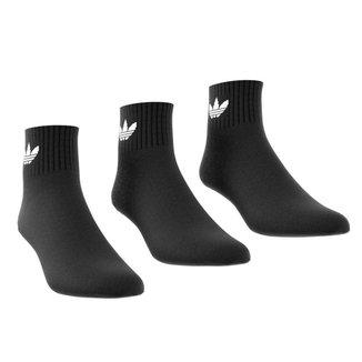 Kit Meia Adidas Cano Médio Ankle c/ 3 Peças