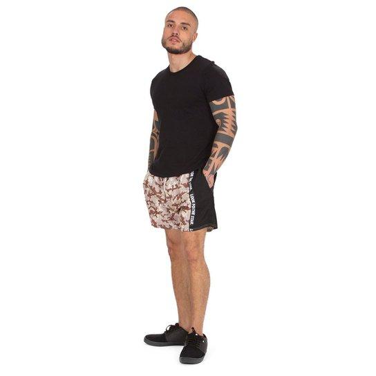 Shorts Starter Camuflado Faixa Lateral - Bege