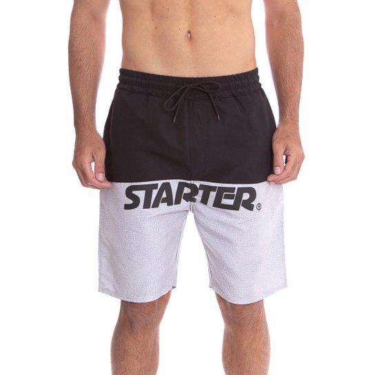 Shorts Starter Faixa Logo - Preto+Cinza
